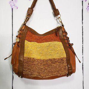 Olivia Harris Colorblock Woven Leather Hobo Bag
